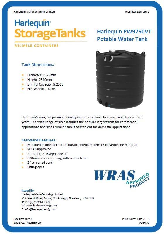 10,000 litre water tank