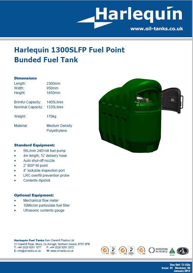 Harlequin 1300 litre Fuel Dispensing Bunded Fuel Point, 56 Litre per minute, lpm